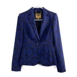 Ted Baker Blue Black Damask Brocade Blazer Jacket
